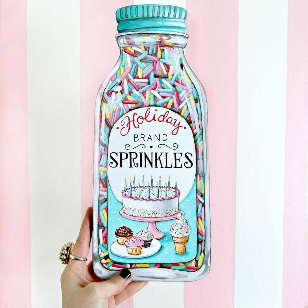 "Image of Jumbo ""Bottle of Sprinkles"" wood diecut plaque"
