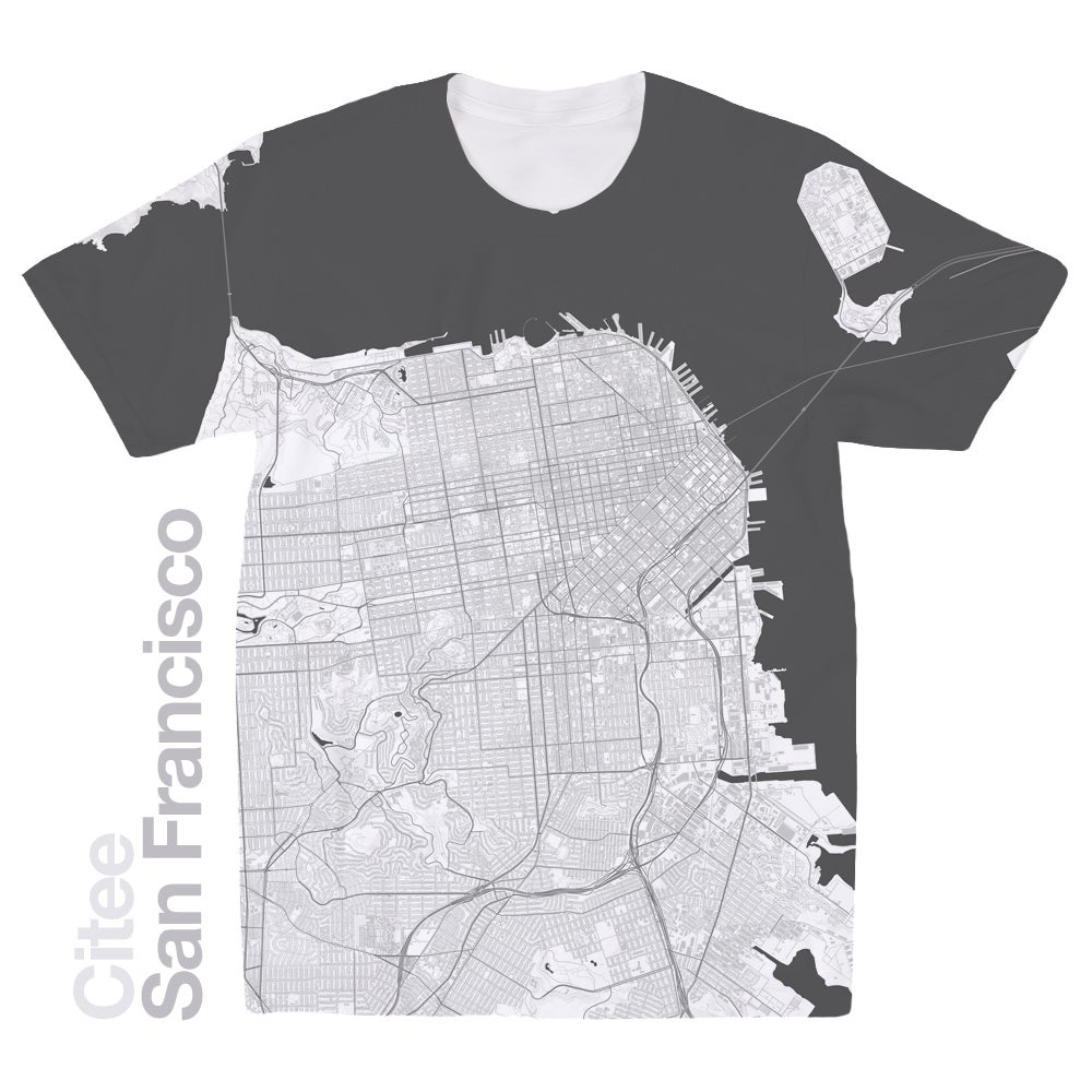 Image of San Francisco CA map t-shirt