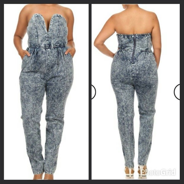 Image of Boujie plus denim romper