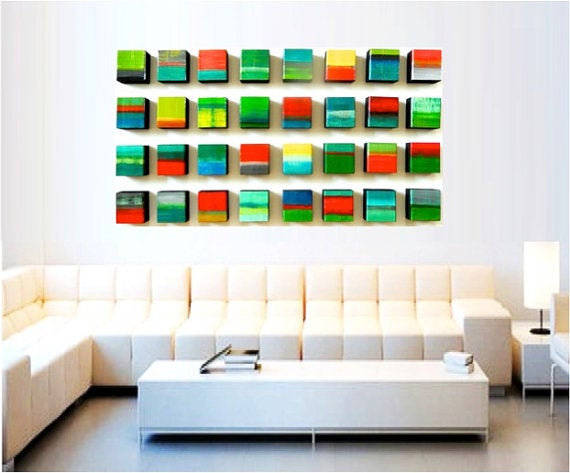 Image of original painted wood wall sculpture abstract wall art blocks reverie of 32