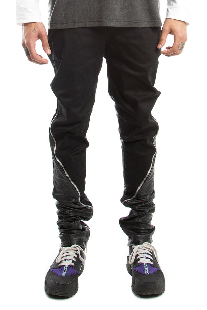 Image of Half Leather Back Jeans With Silver Zips