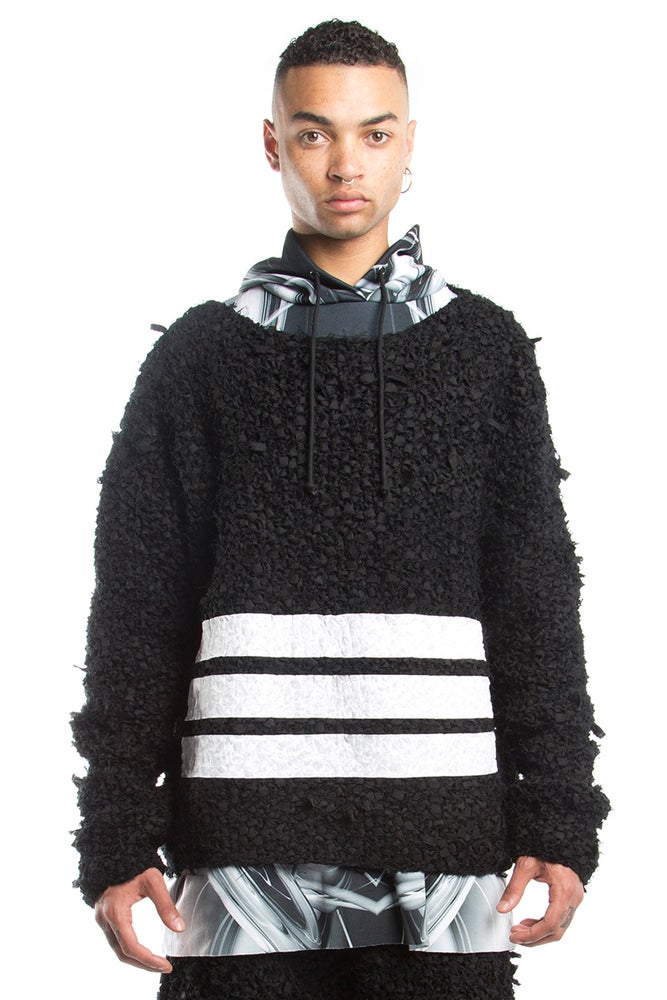 Image of Hand Knitted Twill Pull Over With White Vinyl Print Stripes.