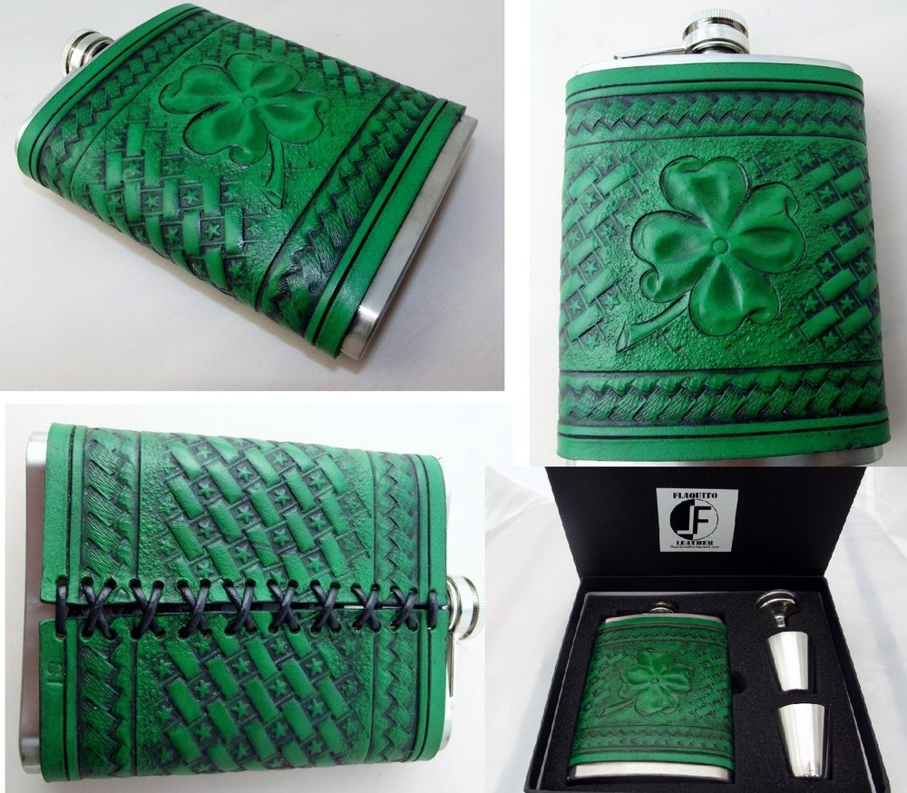 Image of Custom hand tooled leather covered flask. Your image/design or idea.