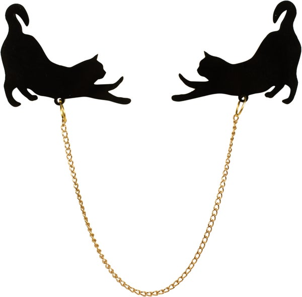 Stretching Cat Silhouette Collar Pins - Black Heart Creatives