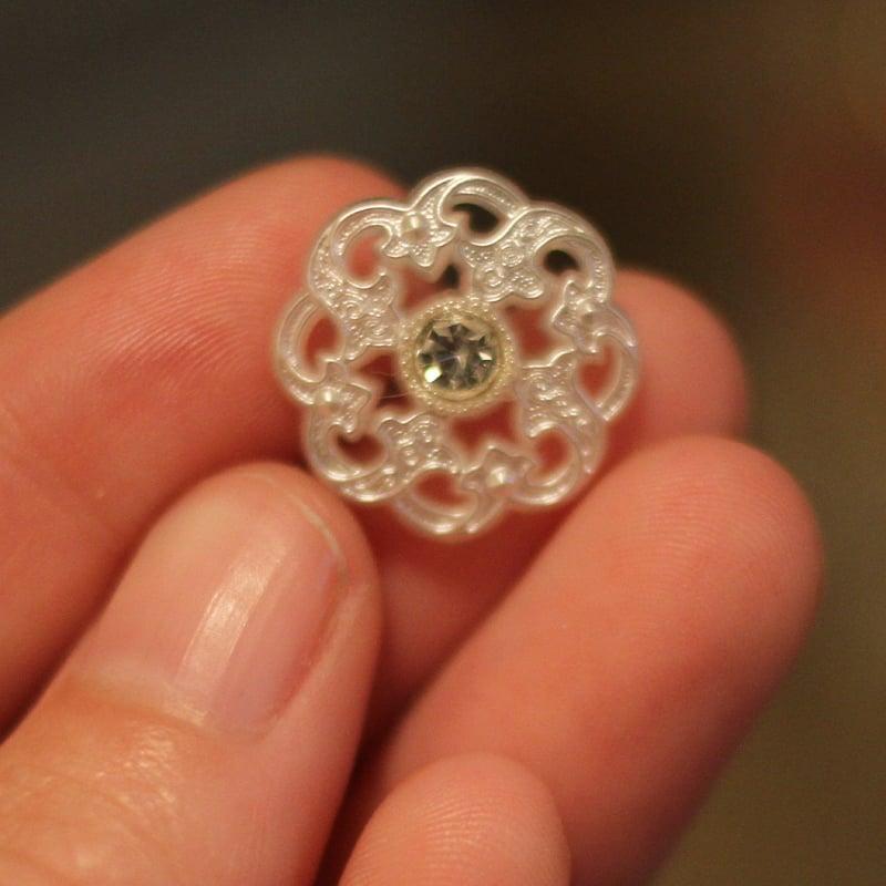 Image of White Filigree Diamond Plugs (sizes 0g-9/16)