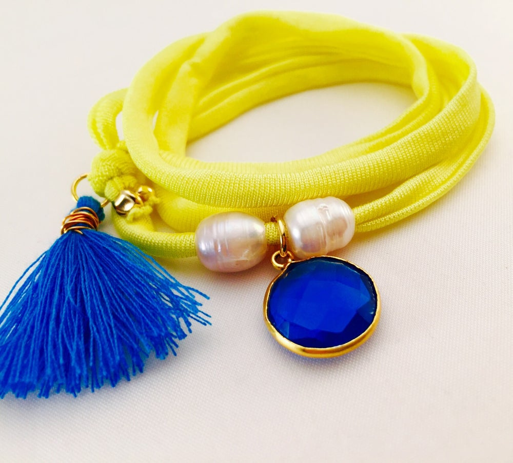 Image of Yellow elastisches Seidenarmband