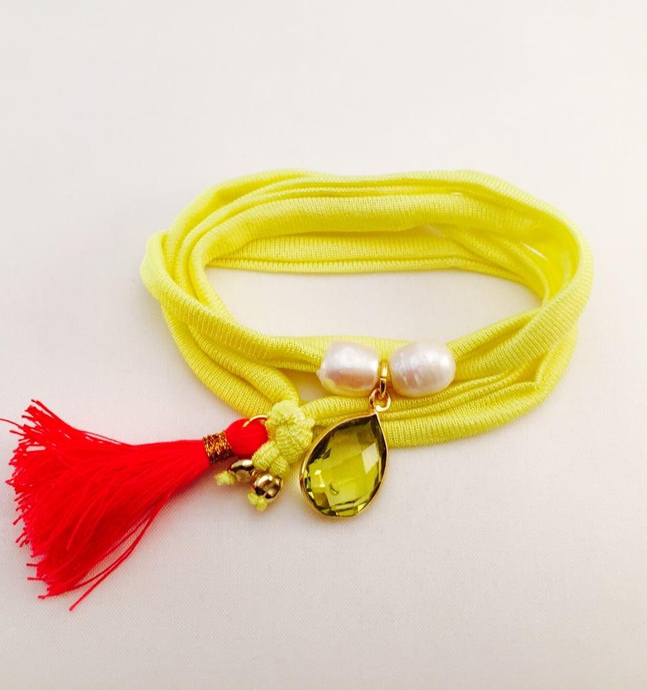Image of Yellow elastisches Seidenarmband