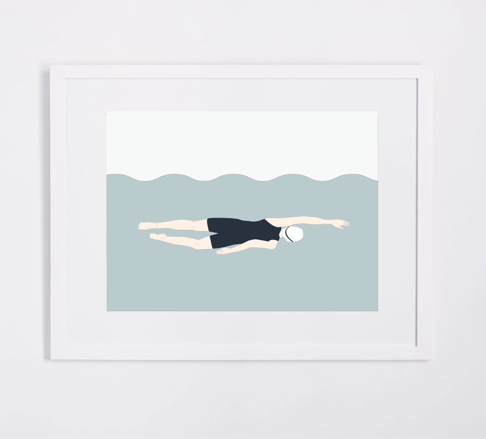 Image of Swimmer print (pink or dark-blue)
