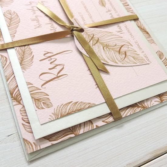 Image of Tickled Pink Bespoke Wedding Invitation and RSVP Personalised Bundle