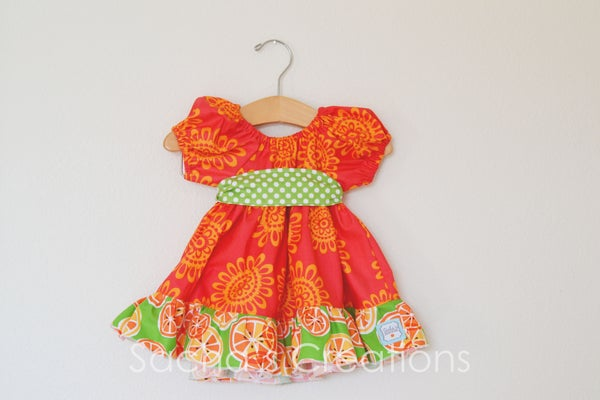 Image of Citrus Party Peasant Dress