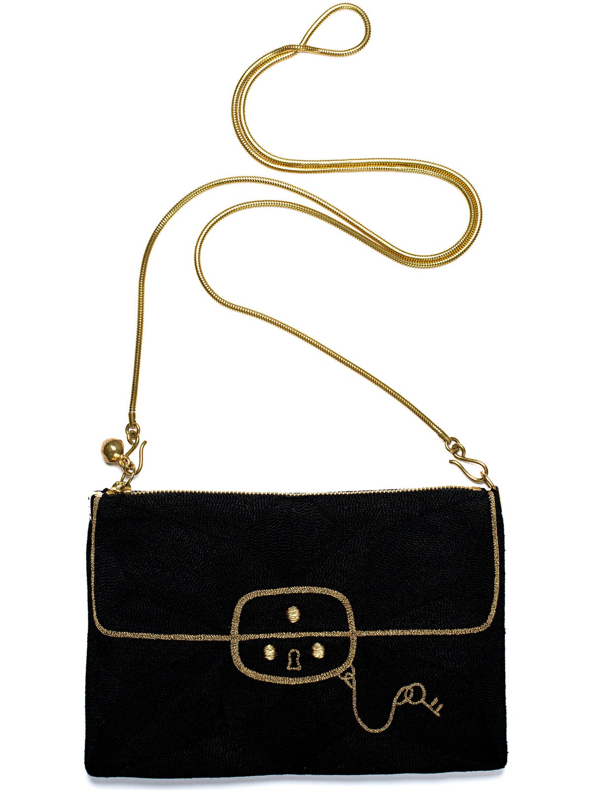 "Image of coco black/gold</br><span class=""product_size"">zip pouch medium </br>with long chain</span>"