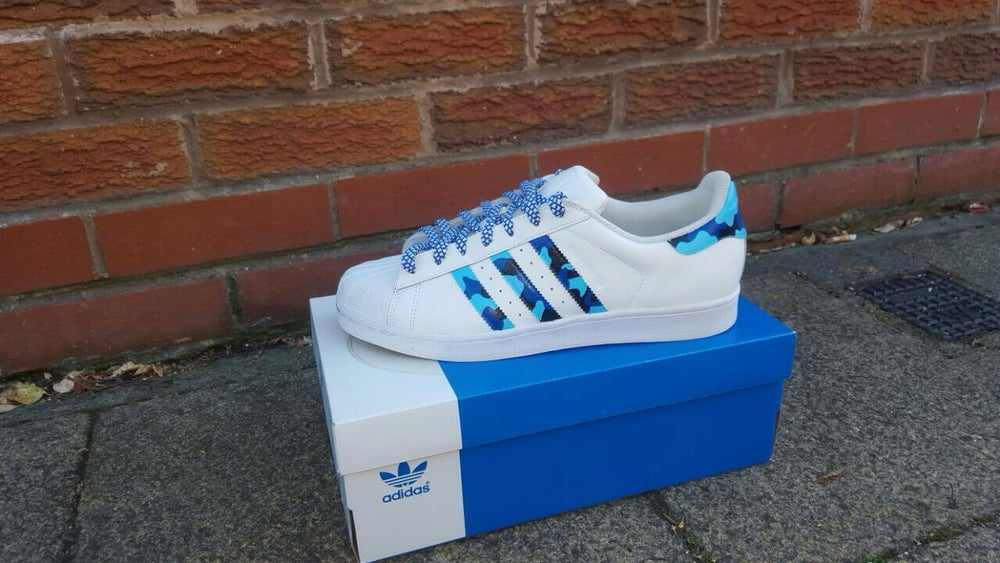 adidas superstar blue stripes
