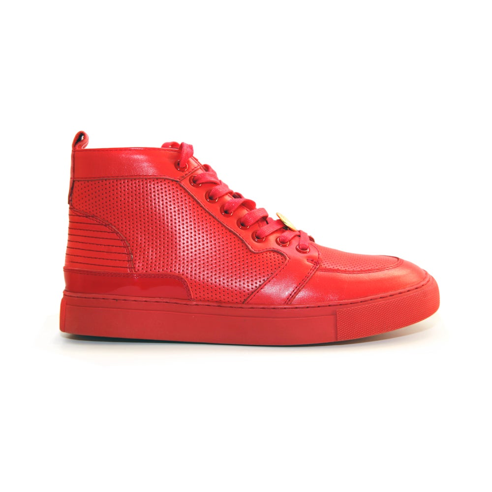 Image of Red GENESIS Italian Leather Sneaker RRP350 **65%OFF**