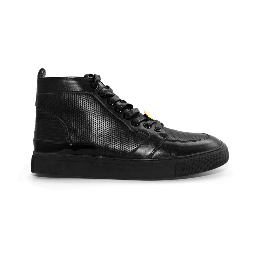 Image of Black GENESIS Italian Leather Sneaker RRP350 **65%OFF**