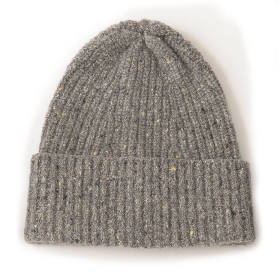 Image of Soft Tweed Cashmere Mix Rib Hat in Grey