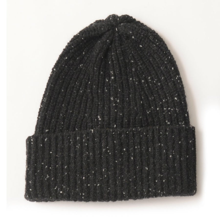 Image of Soft Tweed Cashmere Mix Rib Hat in Black & Charcoal Mix