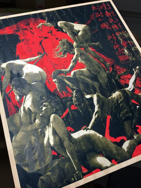Image of Departure of the Witches KYOSAI RED CROW WOOD Edition Hand Finished Screen Print by Penny