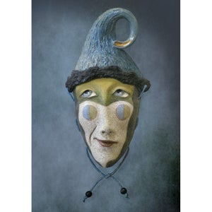 Image of Lightheaded - Mask Sculpture, Stoneware Face Pendant, Original Mask Art