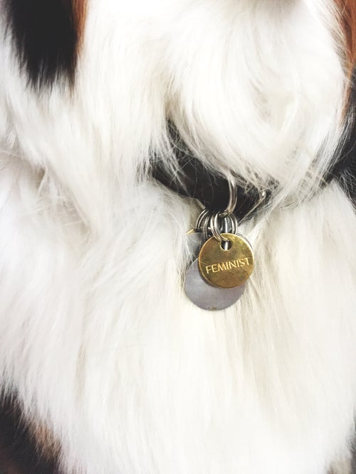Image of FEMINIST / BRASS PET TAG