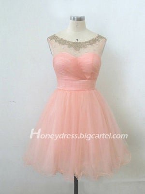 Image of Pink Sweetheart Ball Gown Beaded Cocktail Dress With Tulle