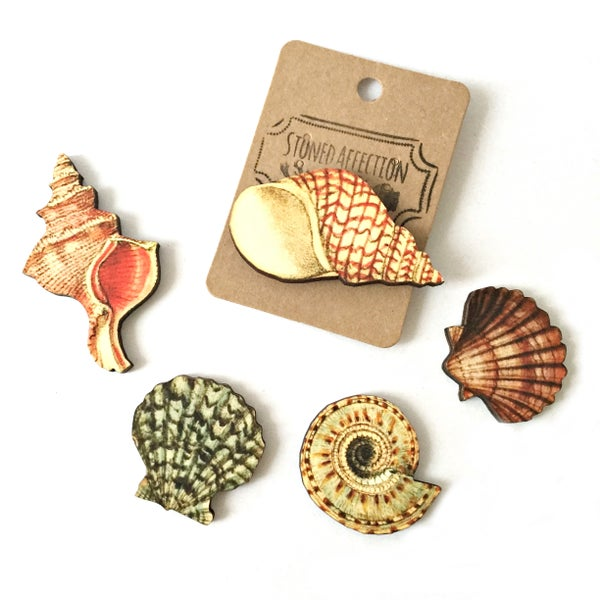 Image of Seashell Wooden Brooch Pin
