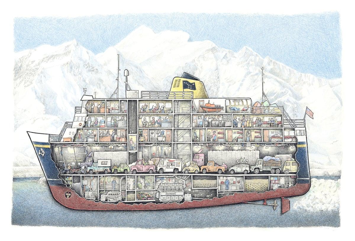 "Image of Alaska Marine Highway Ship No 1. 18"" X 12"""