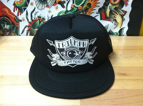 Image of Black Trucker Hat//Eye Shield