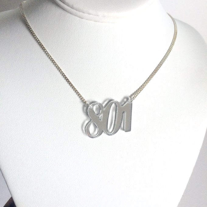 Image of Custom SILVER AREA CODE Acrylic Necklace