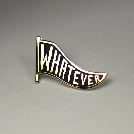 "Image of ""Whatever Pennant"" enamel pin Black/Gold"