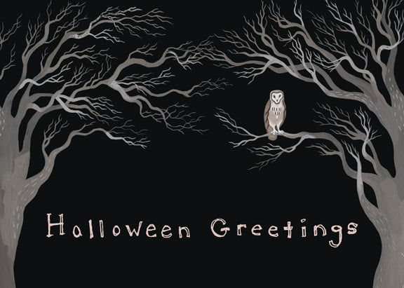 Image of Halloween Greetings blank card (Owl)