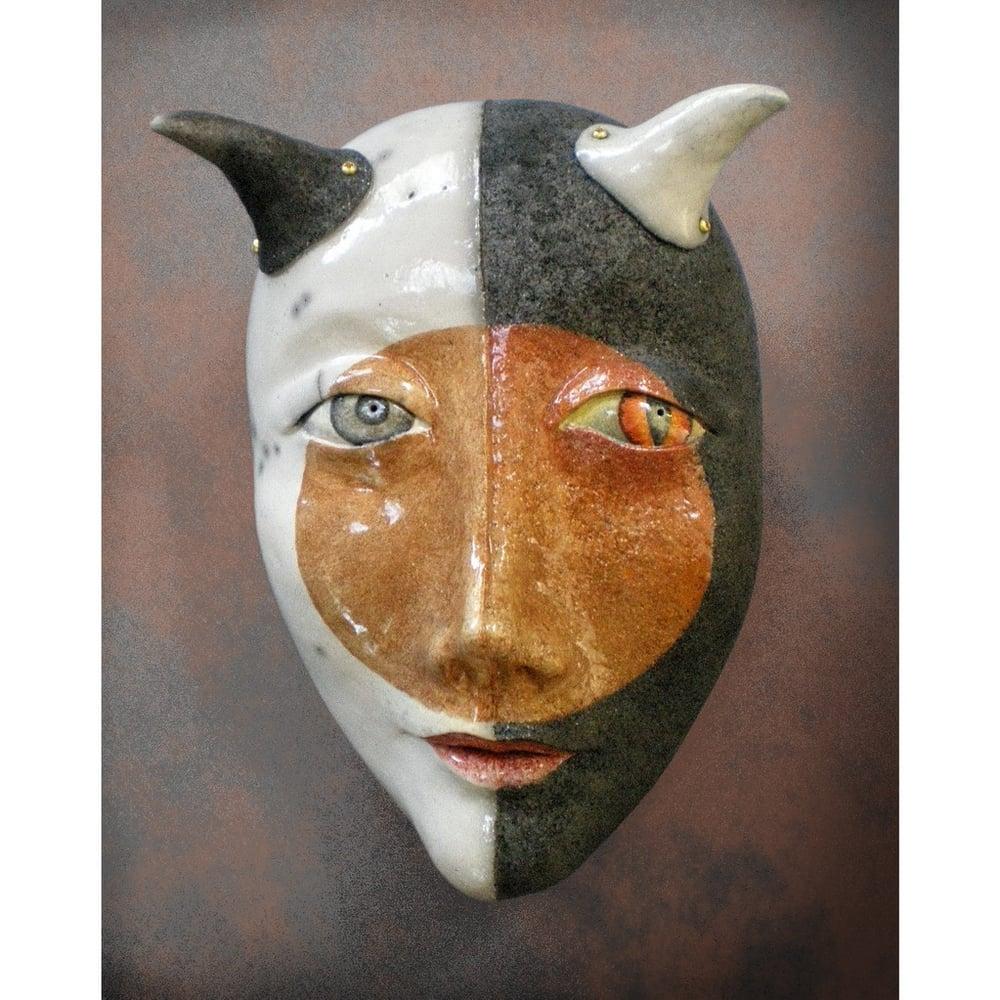 Image of Attraction of Opposites - Raku Mask Sculpture, Stoneware Wall Art, Original Mask Art