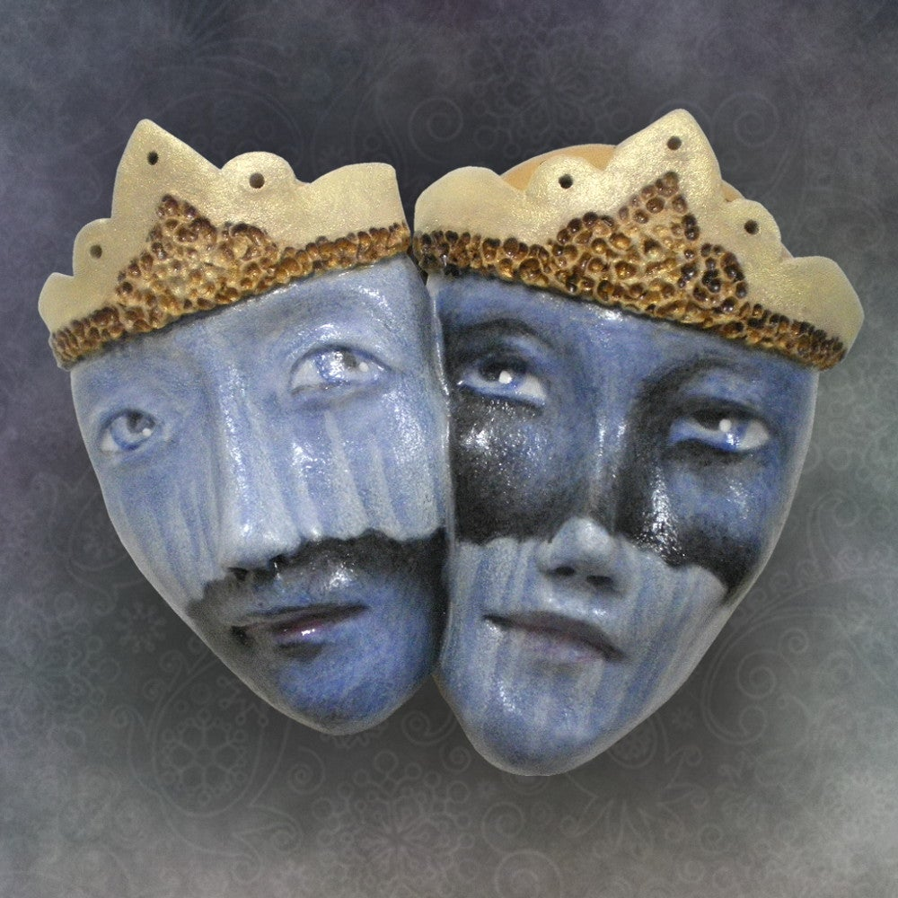 Image of Two Blue - Mask Sculpture, Porcelain Face Pendant, Original Mask Art
