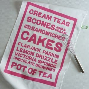 Image of Cream Teas tea towel - shell pink