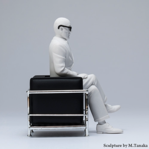Image of Great Master Le Corbusier in LC2 chair figurine