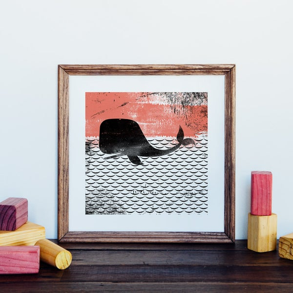 Image of Square Whale Giclee Art Print