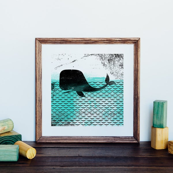 Image of Whale Square Giclee Art Print