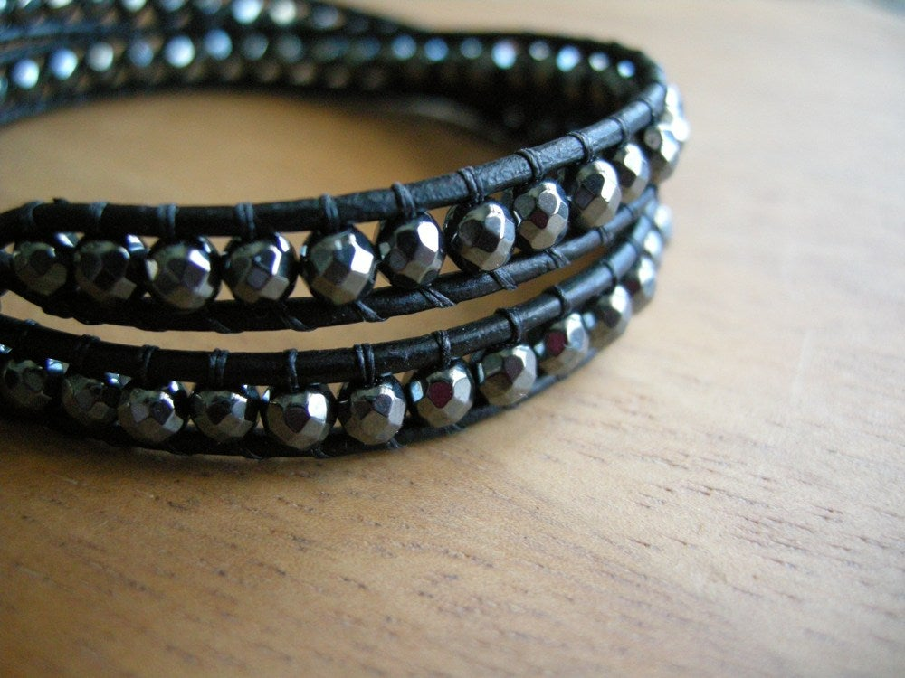 Image of Hematite Leather Wrap Bracelet