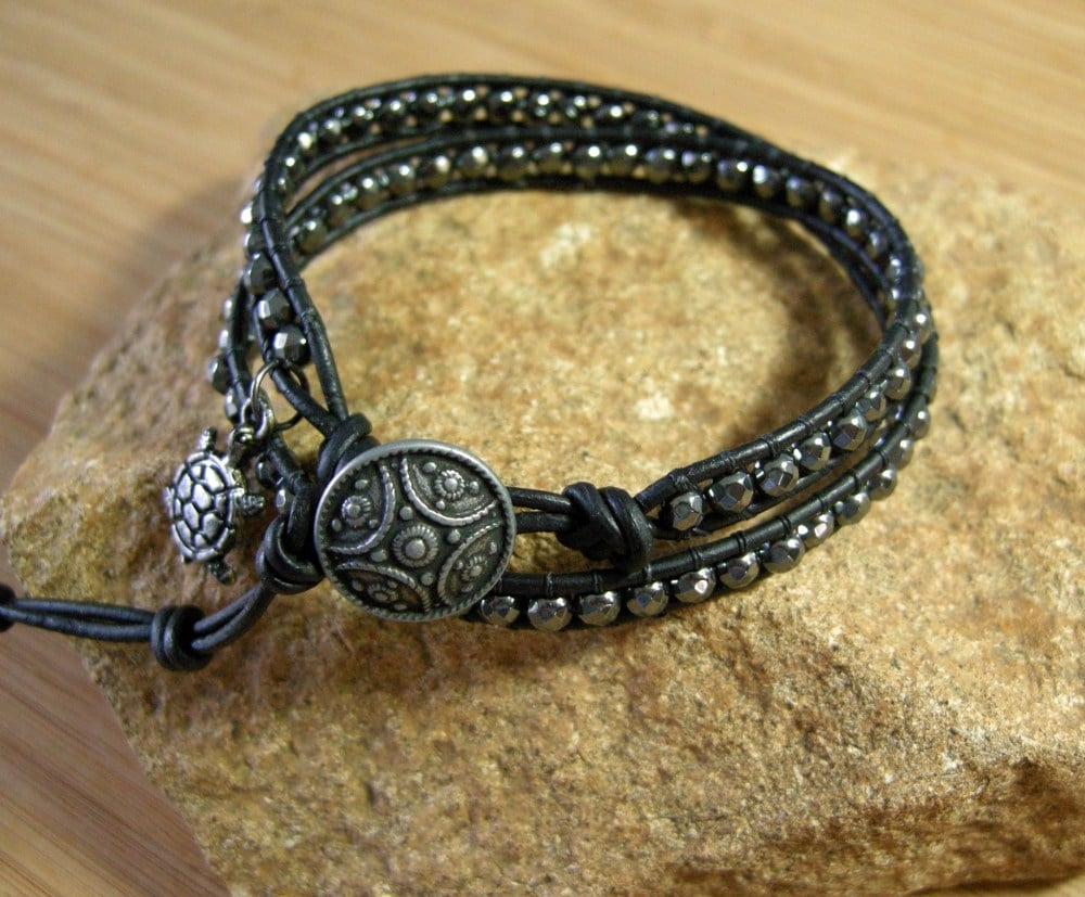 Image of Hematite Leather Wrap Bracelet