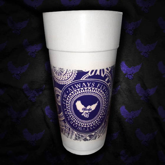 Image of Blue Bandana Styrofoam Cup (5 For $20.00)