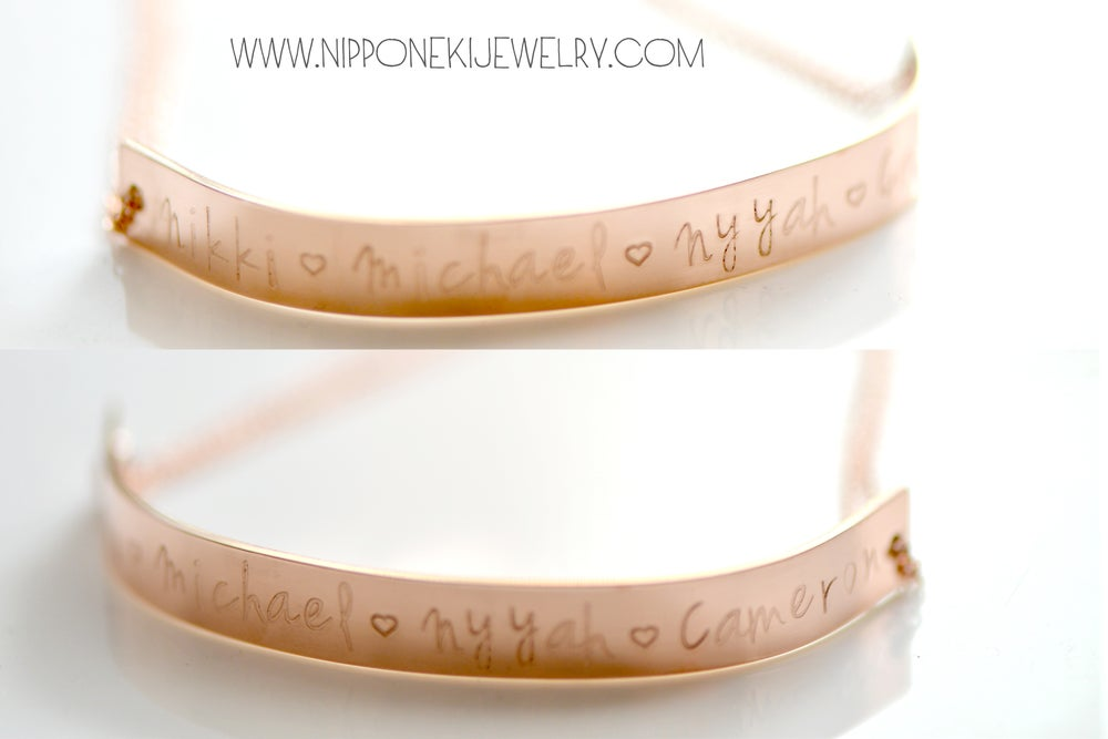 Image of Extra Long Bar Bracelet in Rose Gold, Gold or Sterling Silver