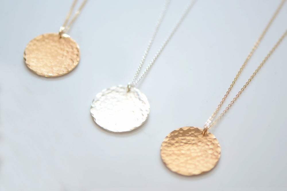 Image of Hammered Disc Necklace, Large Gold or Silver Disc Charm, Minimalist Everyday Necklace