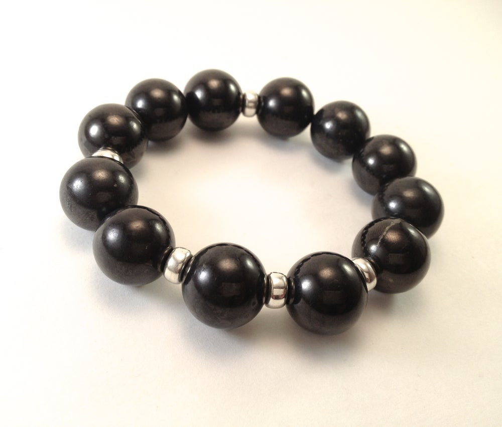 Image of 16mm All Shungite Infinity Bracelet