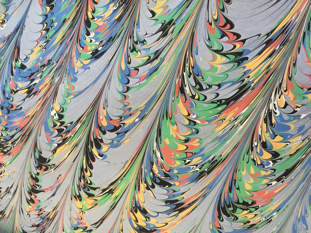 Image of Marbled Paper #46 diagonal comb