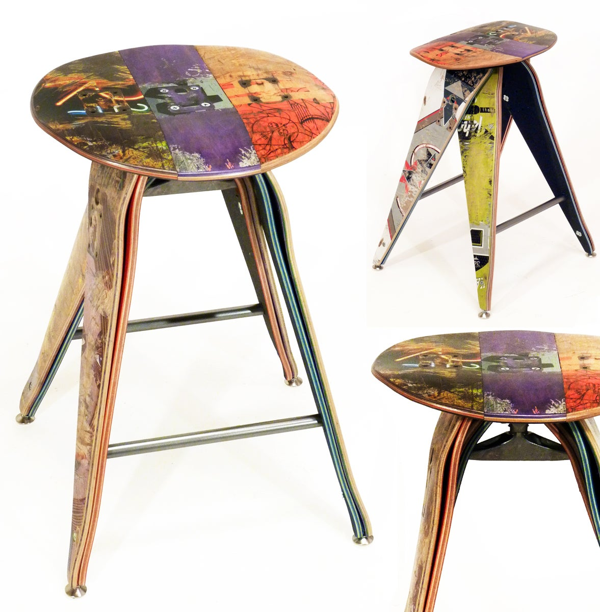 Recycled Skateboard Barstool 25 Counter Height Stool Recycled