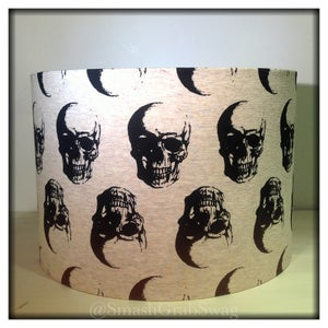 Image of Lampshade 30cm Drum - 'Heads Up Skulls'