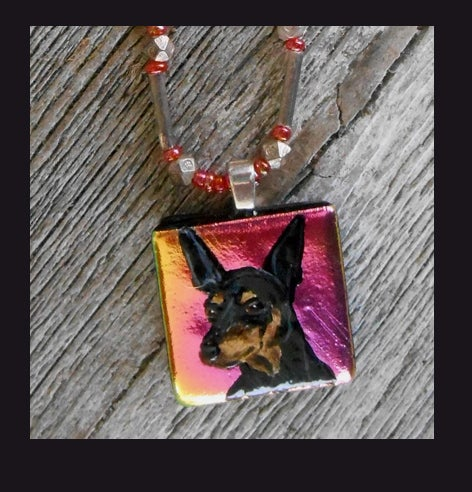 Image of Min Pin Glass Dichroic Art Bead Sterling Silver Necklace  0118