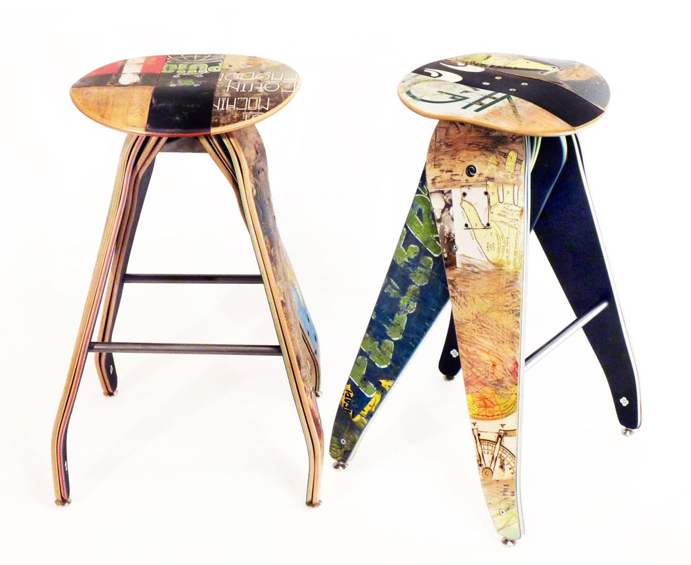 "Image of Recycled Skateboard Barstool - 29"" Bar Height Stool"