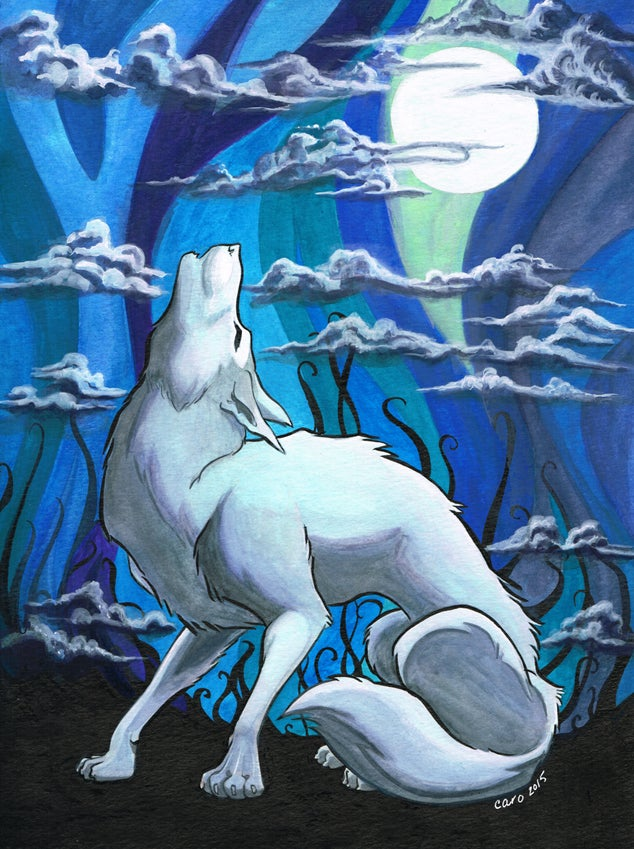Image of Howling Wolf (9x12 Original Painting)