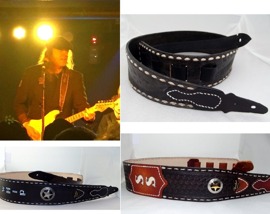 Image of Custom Hand Tooled Leather guitar strap. Your image/design or idea.