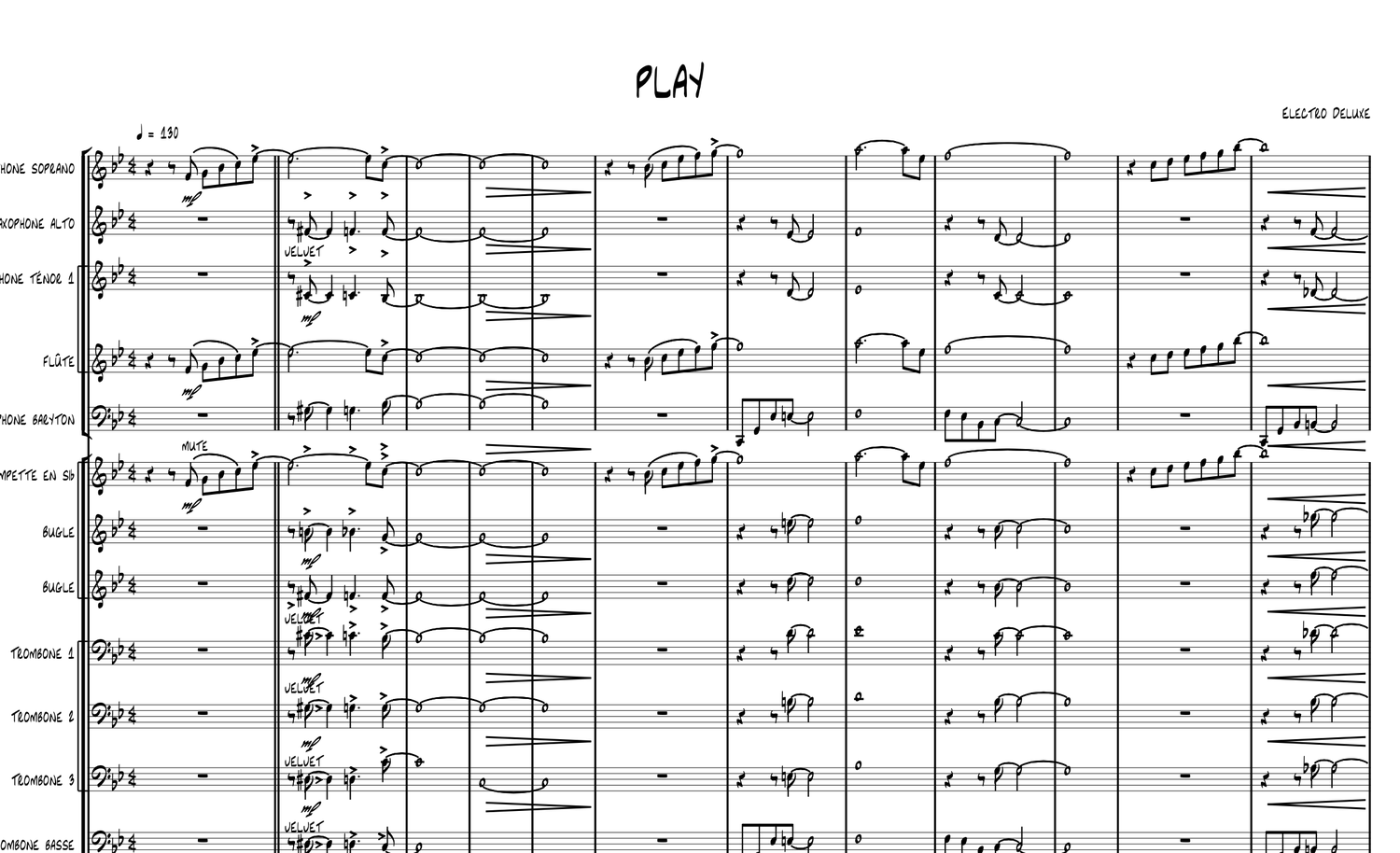 """Image of """"PLAY"""" arrangement for Big Band"""